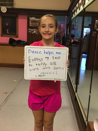 """...express myself, be happy and learn more dance moves!"" -Kaiti"