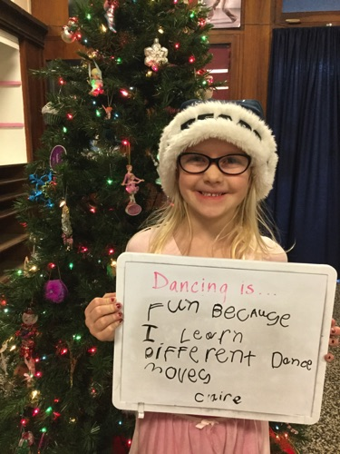 """…fun because I learn different dance moves."" -Claire"