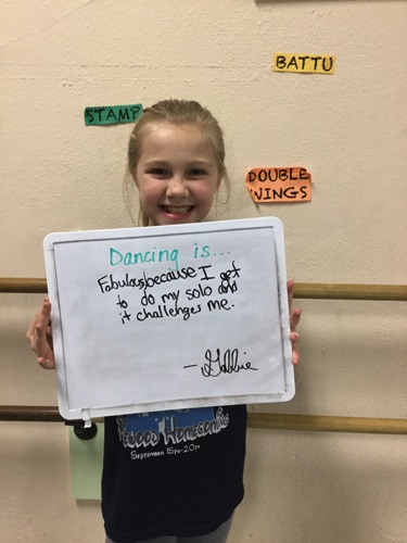 """…fabulous because I get to do my solo and it challenges me."" -Gabbie"