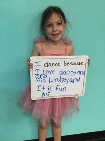 """...I love dance and Miss Lindsay and it is fun."" -Ali"
